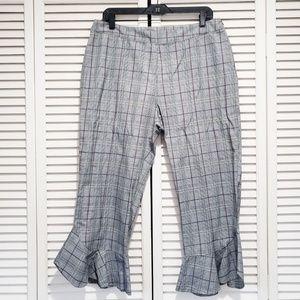 Ro & De Cropped Ruffle Cuff Pants